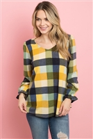 S8-1-2-PPT2114-MU - V-NECK RUFFLE SLEEVES PLAID TOP- MUSTARD 1-2-2-2