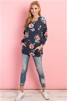 S9-7-1-PPT2116-NV - FLORAL LONG SLEEVES PULLOVER WITH KANGAROO POCKET- NAVY 1-2-2-2