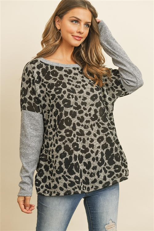 S14-12-5-PPT2117-HG - HACCI BRUSED CONTRAST SLEEVES BOAT NECK LEOPARD TOP- HEATHER GREY 1-2-2-2
