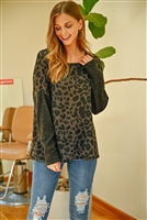 S9-5-3-PPT2117-MCCHL - HACCI BRUSED CONTRAST SLEEVES BOAT NECK LEOPARD TOP- MOCHA/CHARCOAL 1-2-2-2