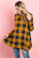 S13-8-4-PPT2118-MUNV - PLAID LONG SLEEVES A-LINE TOP- MUSTARD/NAVY 1-2-2-2