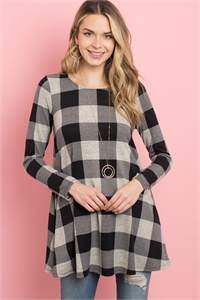 S13-8-4-PPT2118-OTMBK - PLAID LONG SLEEVES A-LINE TOP- OATMEAL/BLACK 1-2-2-2