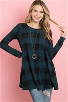 S13-8-4-PPT2118-TLBK - PLAID LONG SLEEVES A-LINE TOP- TEAL/BLACK 1-2-2-2
