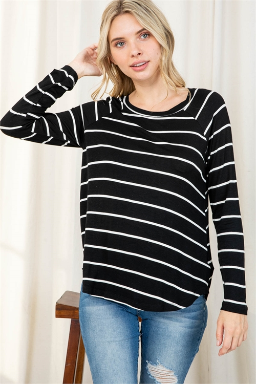 S10-20-1/S12-2-1-PPT2122-BKIV - STRIPES LONG SLEEVES ROUND HEM TOP- BLACK/IVORY 1-2-2-2