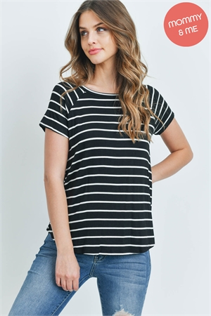 S15-10-3-PPT2123-BKIV - BOAT NECK ROUND HEM TUNIC STRIPES TOP- BLACK/IVORY 1-2-2-2