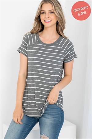 S13-12-4-PPT2123-CHLIV - BOAT NECK ROUND HEM TUNIC STRIPES TOP- CHARCOAL/IVORY 1-2-2-2