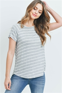 S13-12-4-PPT2123-HGIV - BOAT NECK ROUND HEM TUNIC STRIPES TOP- HEATHER GREY/IVORY 1-2-2-2