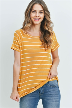 S13-12-3-PPT2123-MUIV - BOAT NECK ROUND HEM TUNIC STRIPES TOP- MUSTARD/IVORY 1-2-2-2