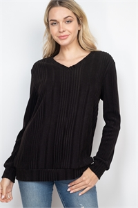 S15-4-2-PPT2127-BK - RIB DETAIL V-NECK LONG SLEEVES SWEATER- BLACK 1-2-2-2
