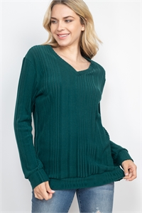 S13-6-1-PPT2127-GNSLD - RIB DETAIL V-NECK LONG SLEEVES SWEATER- GREEN SOLID 1-2-2-2