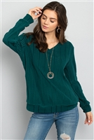 S14-8-2-PPT2127-GNSLD-1 - RIB DETAIL V-NECK LONG SLEEVES SWEATER- GREEN SOLID 0-0-1-2