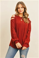 S6-3-2-PPT2128-RST-1 - LADDER OPEN SHOULDER LONG SLEEVED RIB DETAIL TOP- RUST 1-2-2