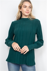 S13-11-2-PPT2129-GN - DOLMAN SLEEVES HIGH NECK RIB DETAIL SWEATER- GREEN 1-2-2-2