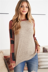 S14-5-1-PPT2131-CCTPBK - PLAID SLEEVES TWO TONED RAGLAN TOP- COCO/TAUPE-BLACK 1-2-2-2