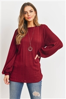 S16-12-1-PPT2132-BU-1 - KNIT LONG SLEEVES BOAT NECK SOLID SWEATER- BURGUNDY 2-2-0-0