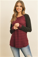 S13-3-3-PPT2133-BUBK - BRUSHED HACCI LONG SLEEEVES STRIPES RAGLAN TOP- BURGUNDY/BLACK 1-2-2-2