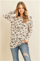 S12-9-1-PPT2134-CHLLTTP - ANIMAL PRINT LONG SLEEVES TOP- CHARCOAL/LIGHT TAUPE 1-2-2-2