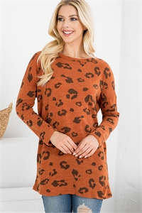 S12-9-1-PPT2134-CHLNRST - ANIMAL PRINT LONG SLEEVES TOP- CHARCOAL/NEW RUST 1-2-2-2