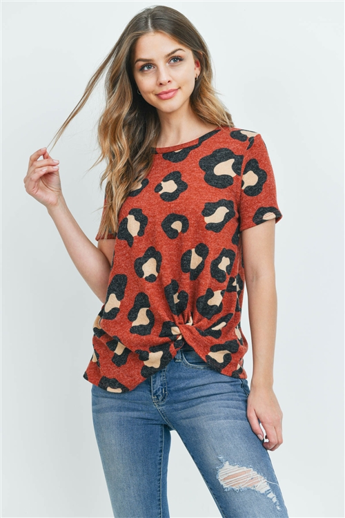 S8-6-3-PPT2136-RST - LEOPARD PRINT SHORT SLEEVES KNOT TOP- RUST 1-2-2-2