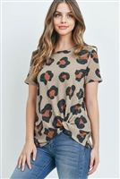 S10-5-2-PPT2136-TP - LEOPARD PRINT SHORT SLEEVES KNOT TOP- TAUPE 1-2-2-2