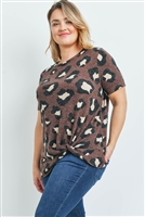 S9-2-3-PPT2136X-MC - PLUS SIZE LEOPARD PRINT SHORT SLEEVES KNOT TOP- MOCHA 3-2-1