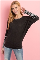 SA4-5-3-PPT2137-2TCHLHG - LEOPARD CONTRAST DOLMAN SLEEVES TOP- 2T CHARCOAL/HEATHER GREY 1-2-2-2