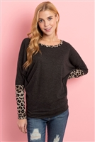 S9-1-4-PPT2137-2TCHLTP-1 - LEOPARD CONTRAST DOLMAN SLEEVES TOP- 2TONE CHARCOAL/TAUPE 1-1-2-1