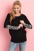 S9-1-4-PPT2137-BKHG-1 - LEOPARD CONTRAST DOLMAN SLEEVES TOP- BLACK HEATHER 1-2-1-2
