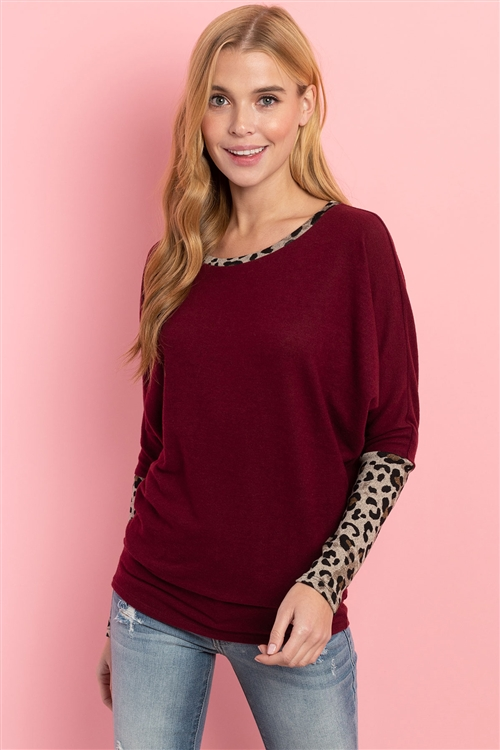 S5-1-1-PPT2137-BUTP - LEOPARD CONTRAST DOLMAN SLEEVES TOP- BURGUNDY/TAUPE 1-2-2-2