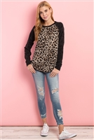 S8-10-1-PPT2138-TPBK - DRAKE LONG SLEEVES LEOPARD RAGLAN TOP- TAUPE/BLACK 1-2-2-2