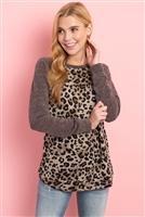 S8-8-1-PPT2138-TPBWN - DRAKE LONG SLEEVES LEOPARD RAGLAN TOP- TAUPE/BROWN 1-2-2-2
