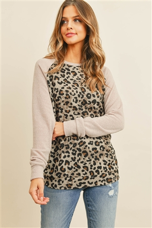 S8-9-1-PPT2138-TPTP - DRAKE LONG SLEEVES LEOPARD RAGLAN TOP- TAUPE/TAUPE 1-2-2-2