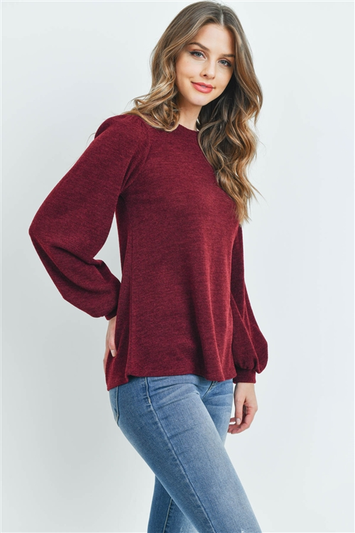 S12-4-1-PPT2139-BU - LONG SLEEVES ROUND NECK MIER SWEATER- BURGUNDY 1-2-2-2