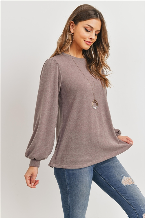 S11-6-1-PPT2139-CC - LONG SLEEVES ROUND NECK MIER SWEATER- COCO 1-2-2-2