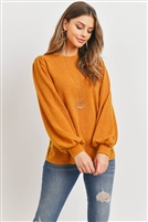 S14-10-3-PPT2139-NMU - LONG SLEEVES ROUND NECK MIER SWEATER- NEW MUSTARD 1-2-1-2