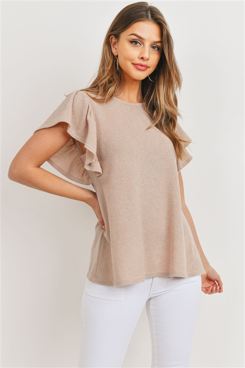 S10-13-2-PPT2140-TP - RIB DETAIL ROUND NECK FLUTTER SLEEVE TOP- TAUPE 1-2-2-2