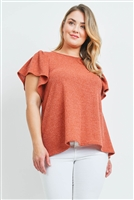 S10-3-3-PPT2140X-RUST - PLUS SIZE RIB DETAIL ROUND NECK FLUTTER SLEEVE TOP- RUST 3-2-1