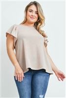 S9-3-1-PPT2140X-TP - PLUS SIZE RIB DETAIL ROUND NECK FLUTTER SLEEVE TOP- TAUPE 3-2-1