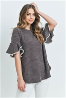 S8-14-3-PPT2142-BWN-1 - POMPOM DETAIL BELL SLEEVES ROUND HEM DRAKE TOP- BROWN 0-2-1-2