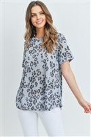 S10-15-2-PPT2143-MU - ROUND NECK SHORT SLEEVES LEOPARD TOP- BLUE GREY 0-2-2-2