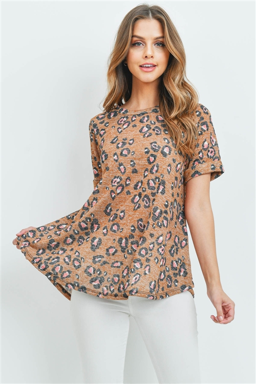 S10-15-2-PPT2143-GY - ROUND NECK SHORT SLEEVES LEOPARD TOP- MUSTARD 0-2-2-2