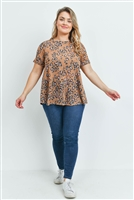 S14-2-4-PPT2143X-MU - PLUS SIZE ROUND NECK SHORT SLEEVES LEOPARD TOP- MUSTARD 3-2-1