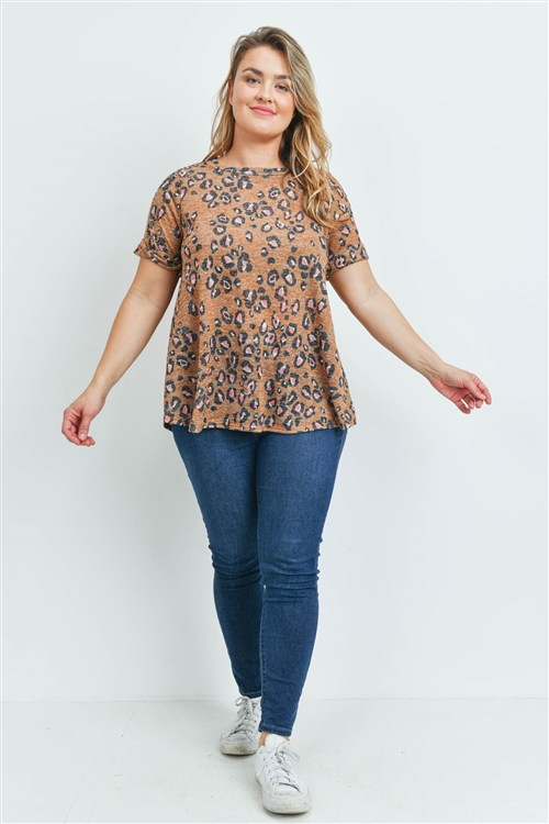 S10-18-2-PPT2143X-MU-1 - PLUS SIZE ROUND NECK SHORT SLEEVES LEOPARD TOP- MUSTARD 2-2-1