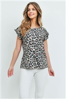 S4-2-4-PPT2145-IV - LEOPARD SHORT RUFFLE SLEEVES TOP- IVORY 1-2-2-2
