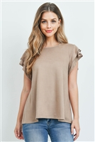 S9-19-2-PPT2147-MC - LAYERED SHORT SLEEVES BOAT NECK SOLID TOP- MOCHA 1-2-2-2