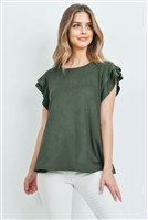 S11-13-3-PPT2147-OV-1 - LAYERED SHORT SLEEVES BOAT NECK SOLID TOP- OLIVE 0-2-2-2