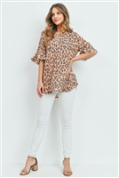 S14-12-1-PPT2148-PCH-1 - LOW GAUGE LACE DETAIL BELL SLEEVES LEOPARD TOP- PEACH 2-2-2