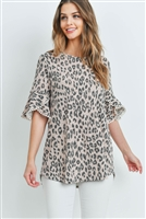 S14-12-1-PPT2148-PKSMK-1 - LOW GAUGE LACE DETAIL BELL SLEEVES LEOPARD TOP- PINK SMOKE 2-2-2