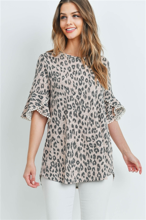S12-3-3-PPT2148-PKSMK - LOW GAUGE LACE DETAIL BELL SLEEVES LEOPARD TOP- PINK SMOKE 1-2-2-2