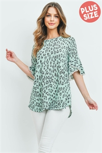 S10-1-2-PPT2148X-GNMNT - PLUS SIZE LOW GAUGE LACE DETAIL BELL SLEEVES LEOPARD TOP- GREEN MINT 3-2-1